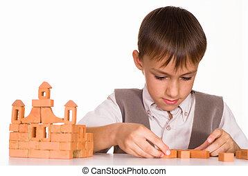 ωραία , αγόρι , αναπτύσσω , ένα , παιχνίδι , κάστρο
