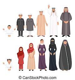 όλα , άντρεs , αιώνας , traditioanal, αραβικός , ρούχα , γυναίκεs
