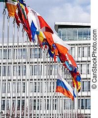 όλα , ιπτάμενος , μεσίστιος , σημαία , σημαίες , eu , ρωσία