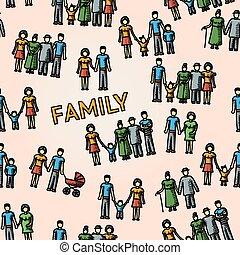 όλα , οικογένεια , πρότυπο , αιώνας , multigenerational , μικροβιοφορέας , members., freehand