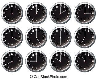 όλα , ρολόι , μαύρο , γραφείο , φορές