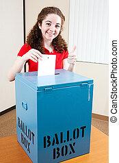 όμορφη , εφηβική ηλικία , ψηφοφορία