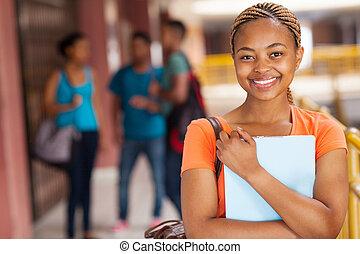 όμορφη , κολλέγιο , γυναίκα μαθητής , αφρικανός