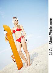όμορφη , sandboarder