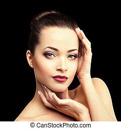όμορφος , αίθουσα , μανικιούρ , βλεφαρίδα , μοντέρνος , μαλλιά , χείλια , γυαλίζω , ιαματική πηγή , κορίτσι , μάτι , κραγιόν , φτιάχνω , νέος , μακριά , μαύρο , μεταχείρηση , γυναίκα , ομορφιά , μακιγιάζ , πολυτελής , φόντο , σκιά , κυρία , καρφί , πάνω , προϊόντα , μάσκαρα , μοντέλο , λαμπερός