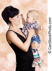 όμορφος , αγόρι , ελκυστικός , μητέρα , μωρό , ευτυχισμένος