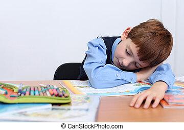όμορφος , αγόρι , μικρός , τραπέζι , κοιμάται