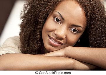 όμορφος , ακινησία , αυτήν , αφρικάνικος αμερικάνικος , αγώνας , ανάμιξη , ανακάτεψα , κορίτσι