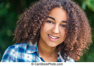 όμορφος , αμερικανός , αγώνας , έφηβος , αφρικανός , ανακάτεψα , κορίτσι