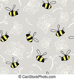 όμορφος , ανιαρός φόντο , πρότυπο , seamless, bumblebees , ευχές