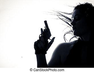 όμορφος , ανώριμος γυναίκα , με , gun., isolated.