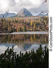 όμορφος , βουνό , φύση , pleso, - , σκηνή , λίμνη , slovakia , tatra, strbske