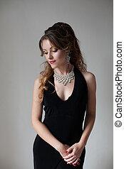 όμορφος , βράδυ , κοκτέηλ , μαύρο , αναγνωρισμένο πολιτικό κόμμα δεσποινάριο , φόρεμα