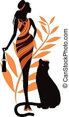 όμορφος , γενική ιδέα , panther., γυναίκα δεσποινάριο , μόδα
