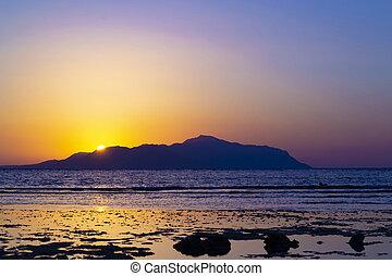 όμορφος , γραφικός , αίγυπτος , πάνω , ηλιοβασίλεμα , sea., κόκκινο