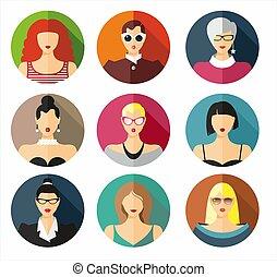 όμορφος , διαφορετικός , γυναίκα , illustration., δεσποινάριο , απομονωμένος , μικροβιοφορέας , νέος , γούνα αναθέτω , avatar, φόντο , πορτραίτο , άσπρο , ρυθμός