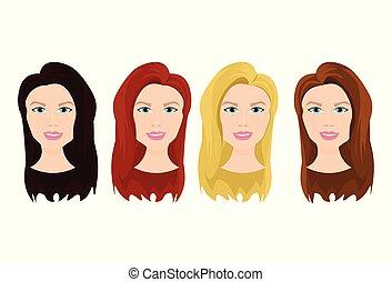 όμορφος , διαφορετικός , θέτω , γυναίκα , χρώμα , νέος , απομονωμένος , μαλλιά , γυναίκα , φόντο , αντικρύζω , άσπρο