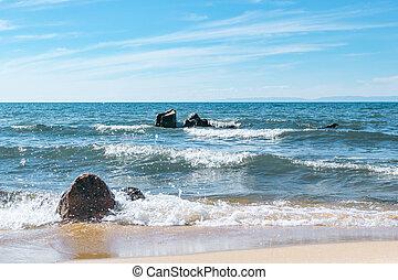 όμορφος , δυο , θεαματικός , βγάζω τα κουκούτσια , άθροισμα , ανεμίζω , ηλιόλουστος , καλοκαίρι , έπλυνα , θαλασσογραφία , λίμνη , ημέρα , μπλε , baikal