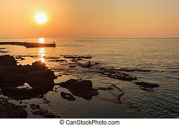 όμορφος , δύση θαλασσογραφία , μεσογειακός , ακτή , βηρύτος , lebanon., θάλασσα