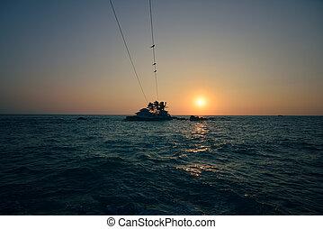 όμορφος , δύση θαλασσογραφία