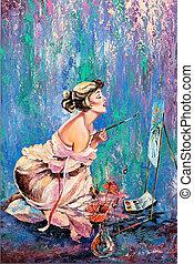 όμορφος , εικόνα , κορίτσι , ζωγραφική
