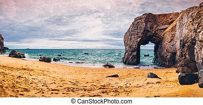 όμορφος , ευρώπη , πέτρα , φυσικός , θεαματικός , arche , de , βρετανή , γαλλία , φημισμένος , ακτογραμμή , (bretagne), βραχώδεις ακτές , καμάρα , λιμάνι , blanc