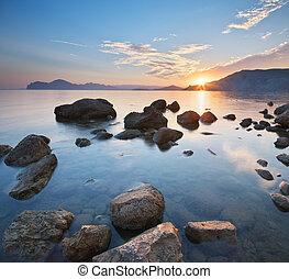 όμορφος , ηλιοβασίλεμα , θάλασσα , shore.
