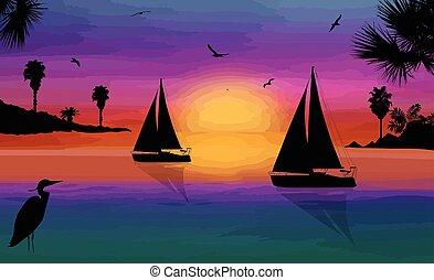 όμορφος , ηλιοβασίλεμα , περίγραμμα , θάλασσα , sailingboats