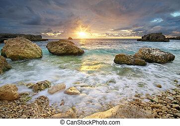 όμορφος , ηλιοβασίλεμα , seascape., sea.