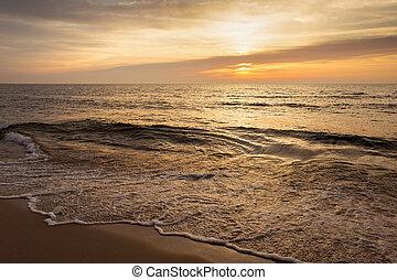 όμορφος , ηλιοβασίλεμα , waves., θαλασσογραφία , μικρό , ήλιοs