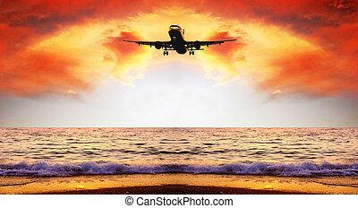 όμορφος , θάλασσα , είδος γραφική εξοχική έκταση , επάνω , ο , ανατολή , ουρανόs , με , αεροπλάνο