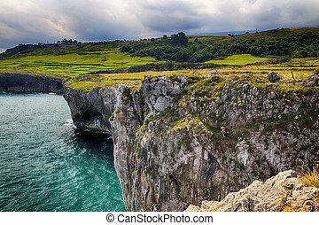όμορφος , θέα , οκεανόs , ακτή , asturias , ισπανία