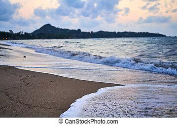 όμορφος , θερμότατος ακρογιαλιά , ηλιοβασίλεμα , θάλασσα