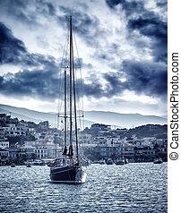 όμορφος , ιστιοφόρο , θάλασσα , καταιγίδα
