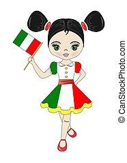 όμορφος , ιταλία , εξοχή , εικόνα , σημαία , κορίτσι