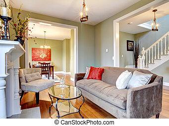 όμορφος , καθιστικό , καβουρντίζω καναπές , κομψός , πράσινο , fireplace.
