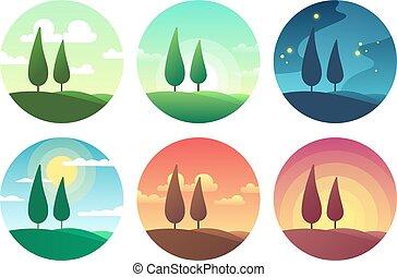 όμορφος , καλοκαίρι , διαφορετικός , βράδυ , απεικόνιση , αστερόεις , ηλιόλουστος , φορές , day., ημέρα , μικροβιοφορέας , ηλιοβασίλεμα , τοπίο , νύκτα , πρωί , ανατολή