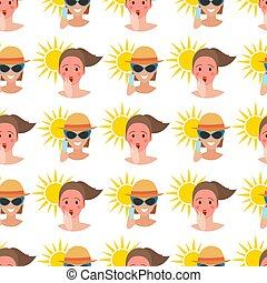 όμορφος , καλοκαίρι , μόδα , τρόπος ζωής , illustration., άνθρωποι , πρότυπο , ταξιδεύω , εξαρτήματα , seamless, τροπικός , μαύρισμα , φόντο , παραλία