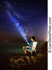 όμορφος , καλοκαίρι , νύκτα , ουκρανία , way., θάλασσα , γαλακτώδης