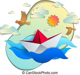 όμορφος , καλοκαίρι , παιχνίδι , sky., θαλασσογραφία , εικόνα , ταξιδεύω , νερό , holidays., χαρτί , μικροβιοφορέας , θάλασσα , θεαματικός , πλωτός , origami , πλοίο , του ωκεανού ανεμίζω , πουλί , βάρκα , κολύμπι