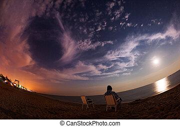 όμορφος , καλοκαίρι , πανσέληνος , ukraine., θάλασσα , νύκτα