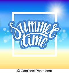 όμορφος , καλοκαίρι , παραλία , time., αφρώδης , χέρι , πένα , βούρτσα , θάλασσα , water., μετοχή του draw , λαμπερός , γράμματα