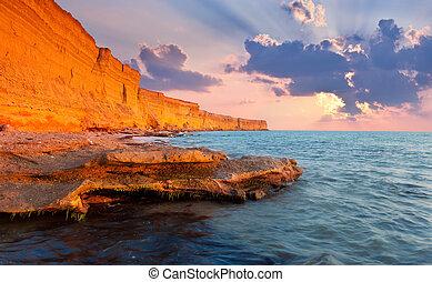 όμορφος , καλοκαίρι , cliff., πελώρια , θαλασσογραφία , ανατολή