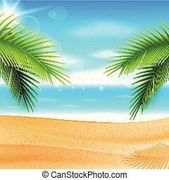 όμορφος , καλοκαίρι , panorama., θάλασσα , φόντο , παραλία