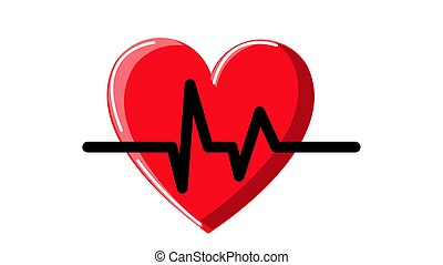 όμορφος , καρδιά , απλό , καρδιογράφημα , αφαιρώ , όσπριο , φόντο. , μικροβιοφορέας , εικόνα , δίνω φώς , άσπρο , ιατρικός , κόκκινο , εικόνα