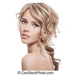 όμορφος , κατσαρός , υγιεινός , μακριά , girl., hair., ξανθομάλλα
