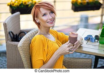 όμορφος , καφέs , απόγευμα , πορτραίτο , πόσιμο , κυρία