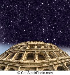όμορφος , κολοσσαίο , βλέπω , rome., νύκτα
