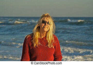 όμορφος , κορίτσι , παραλία