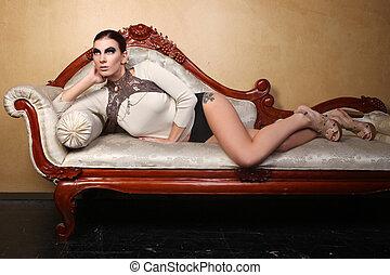 όμορφος , κουραστικός , γυναίκα , κοσμήματα , αβοήθητος διαμορφώνω